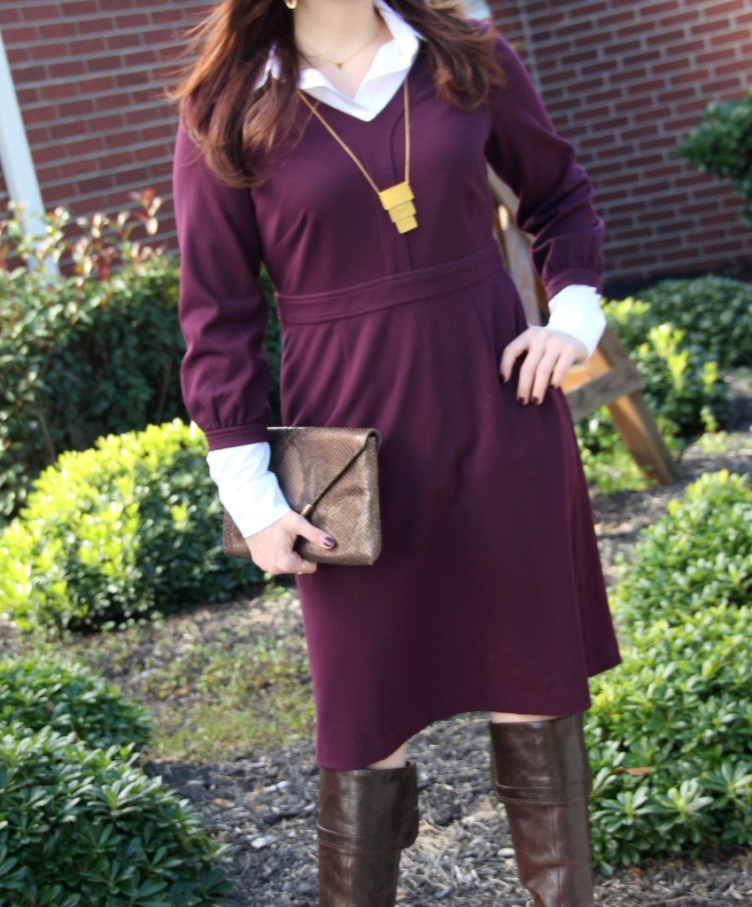 Outfit Idea - Create a winter look from a fall dress by adding a button down blouse underneath!