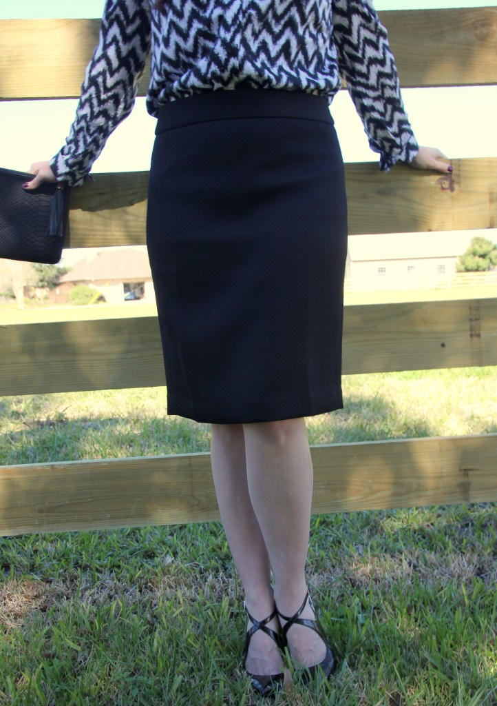 Black Textured Pencil skirt and the perfect black heels