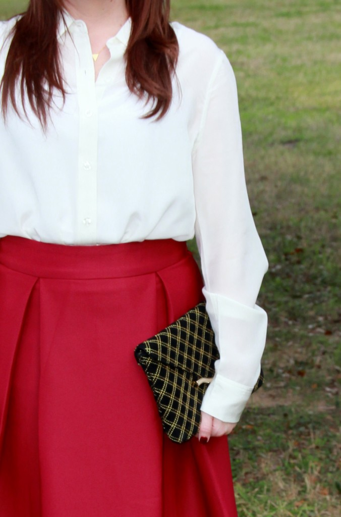 Piperlime cream silk blouse and marsala a-line skirt, office style idea