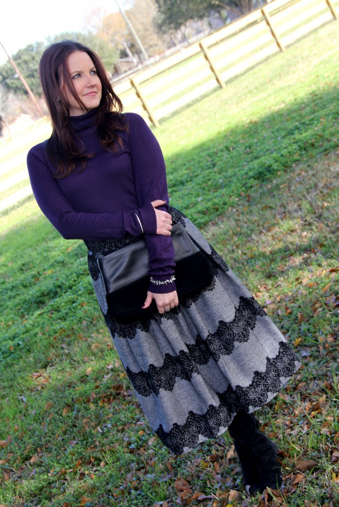 Violet fitted turtleneck with gray chicwish skirt with lace detailing, office outfit idea