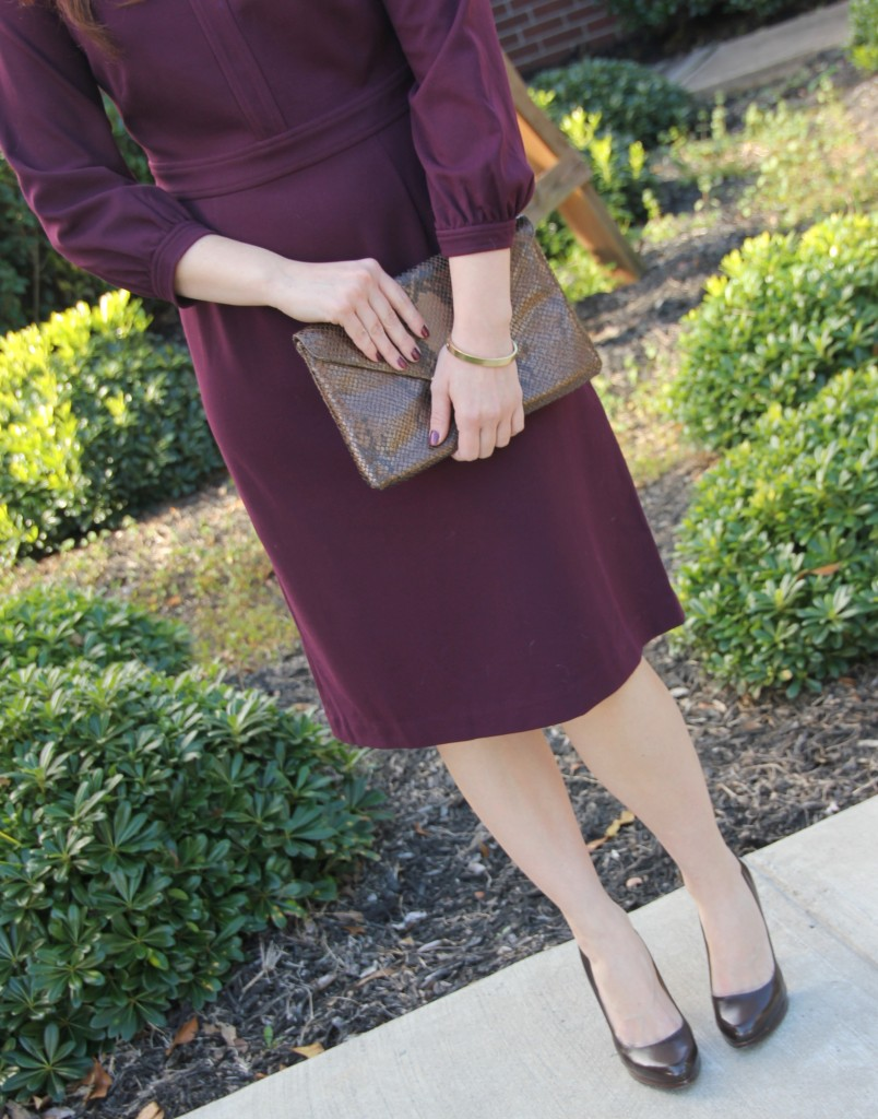 Dobbin Plum Sylvie Ponte Dress with Elaine Turner bella clutch