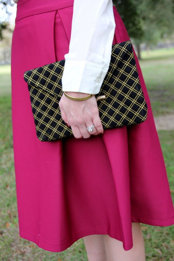 Chicwish a-line midi skirt in violet and elaine turner bella clutch