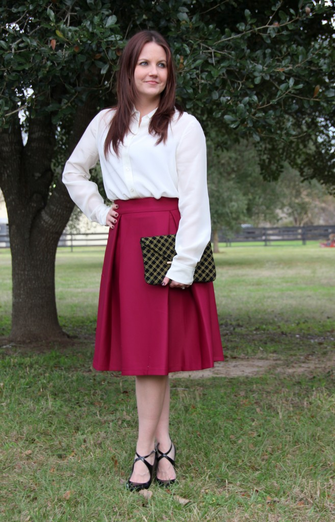 Cream Silk Blouse and a-line midi skirt, perfect office outfit idea