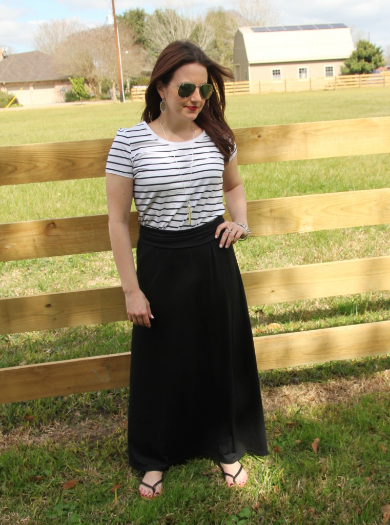 Spring Weekend Casual look, striped tee with maxi skirt -perfect for lazy sunday!