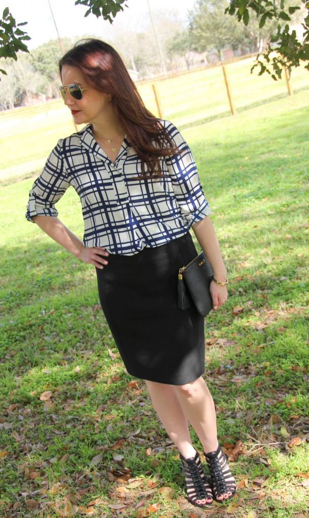 Backup Plan for last minute changes, pencil skirt with tunic and wedges, office look