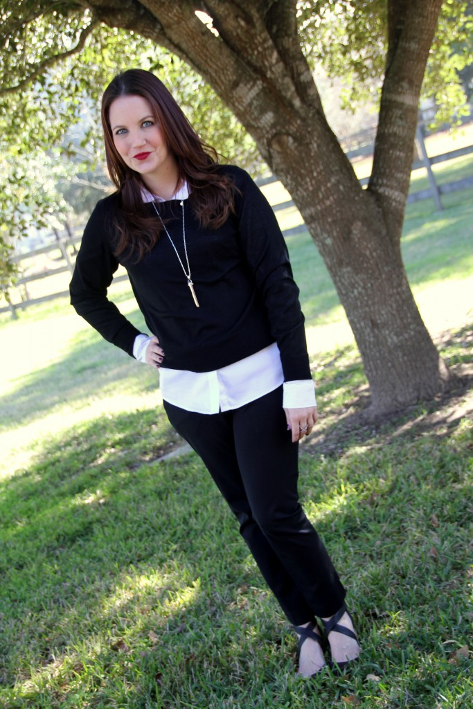 Layering a work look with a sweater and button down top paired with skinny work pants, perfect office outfit idea