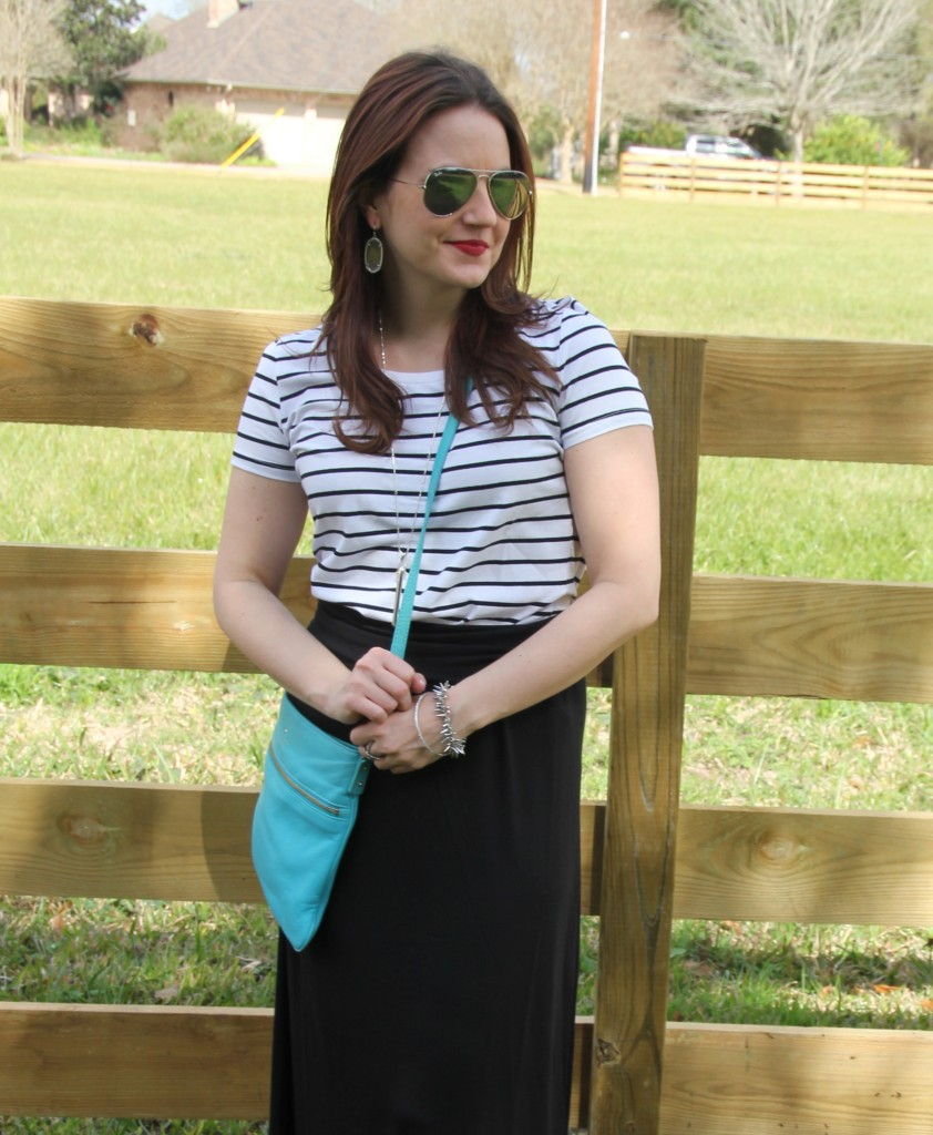 Spring Weekend Casual look, striped tee with maxi skirt and Kate Spade crossbody bag