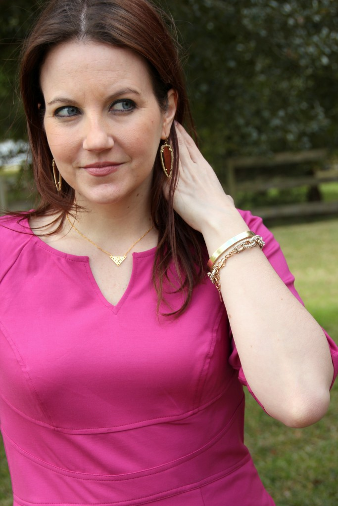 Gold Jewelry paired with pink spring dress