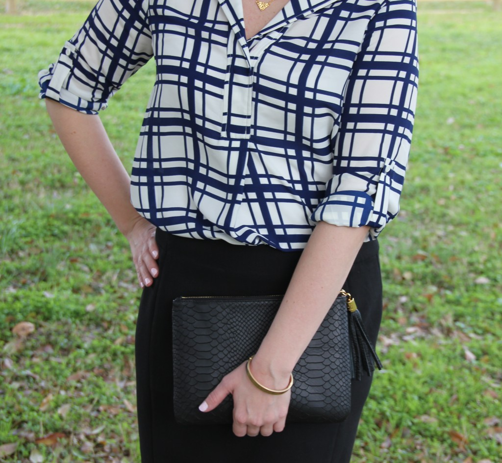 Office Outfit Idea for Spring, checked print blouse with pencil skirt