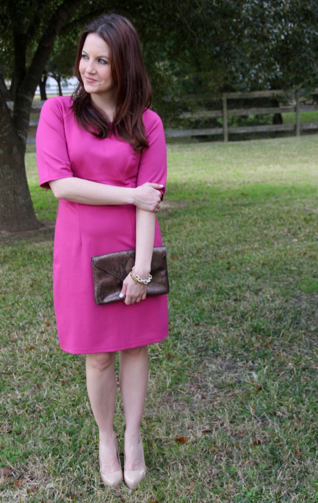 eShakti customized dress with gold accessories, office outfit idea