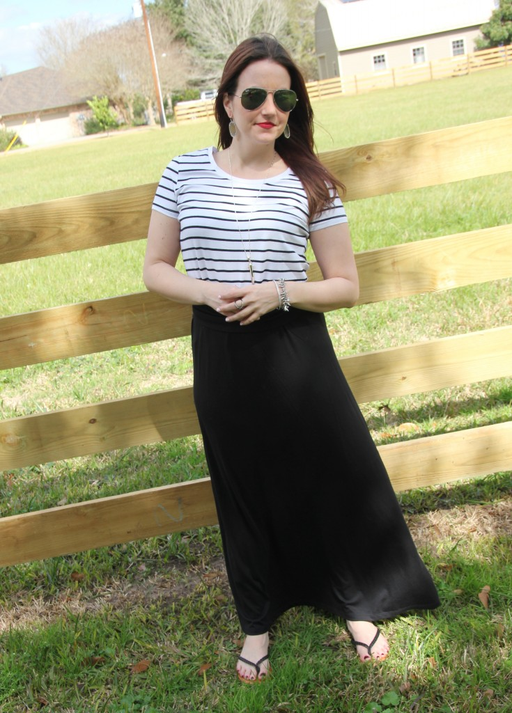 Spring Weekend Casual outfit idea, striped tee with maxi skirt -perfect for lazy sunday!