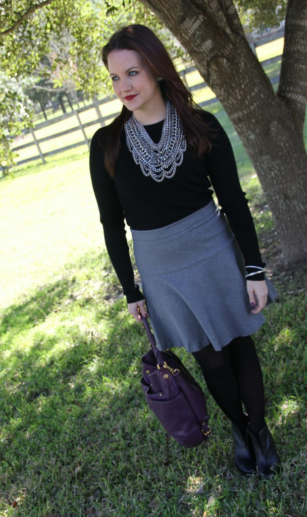 Winter Office Outfit Idea - add black tights for winter style