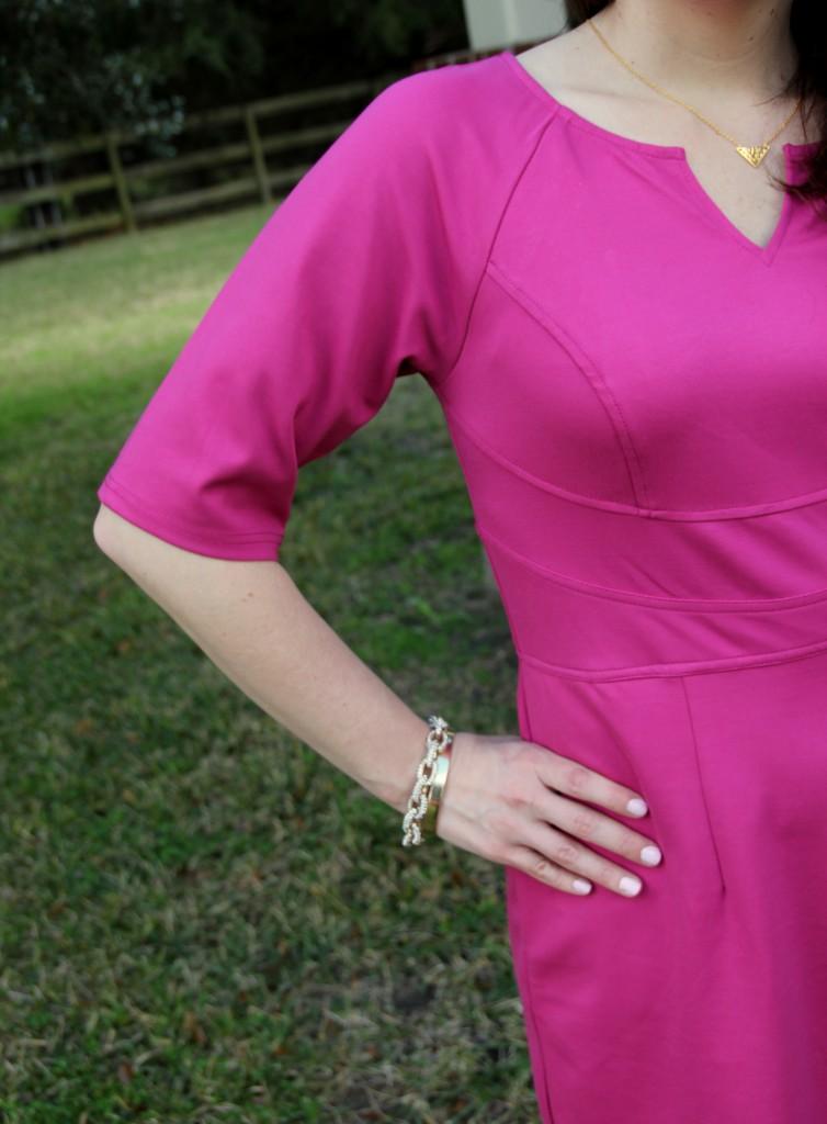 eShakti customized dress adding sleeves, baublebar bracelets