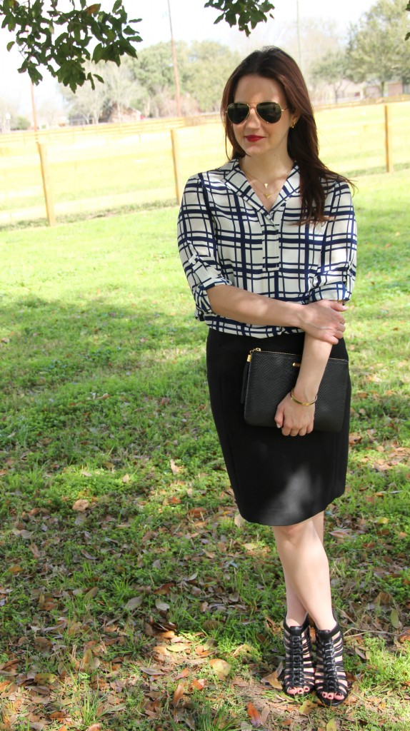 Office Outfit Idea, Printed blouse with black pencil skirt and wedges