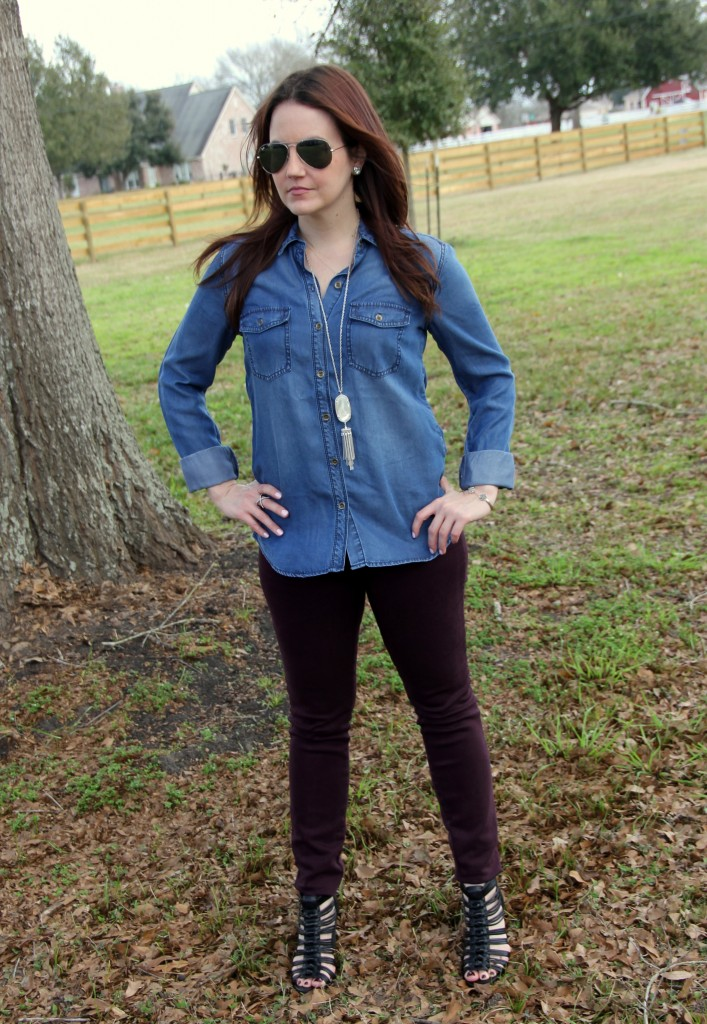 Chambray Shirt with colored skinny jeans and wedges, spring weekend outfit idea