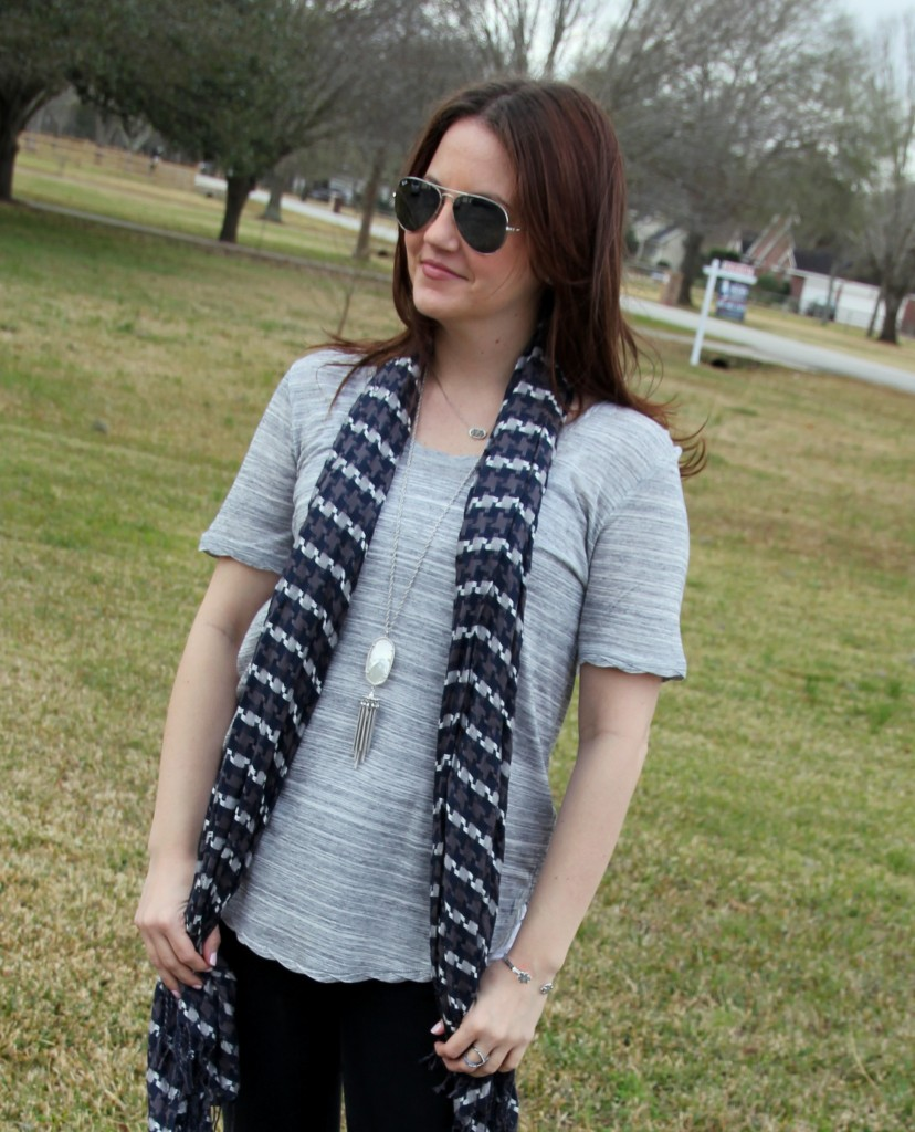 H&M Jersey Top with boutique scarf and Kendra Scott Rayne necklace