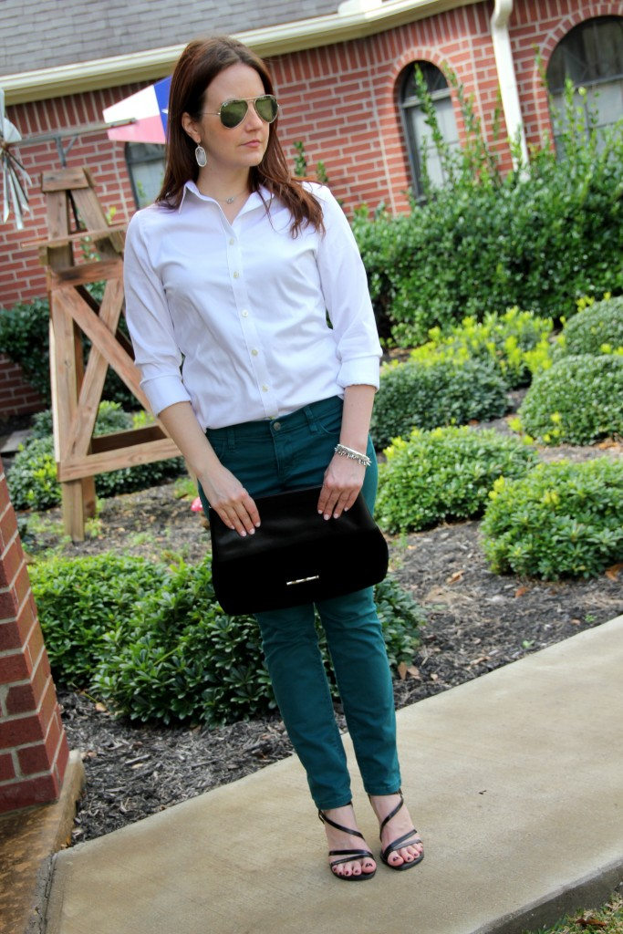 Spring Transition outfit idea - button down blouse, skinny jeans, and sandals - lady in violet blog