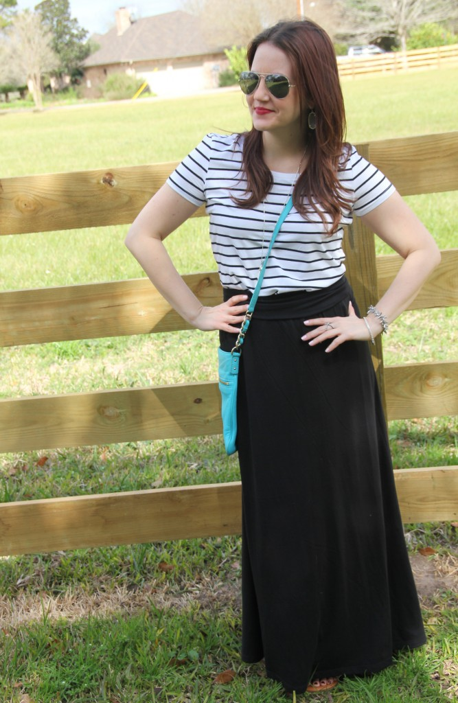 Spring Weekend Casual outfit, striped tee with maxi skirt -perfect for lazy sunday!