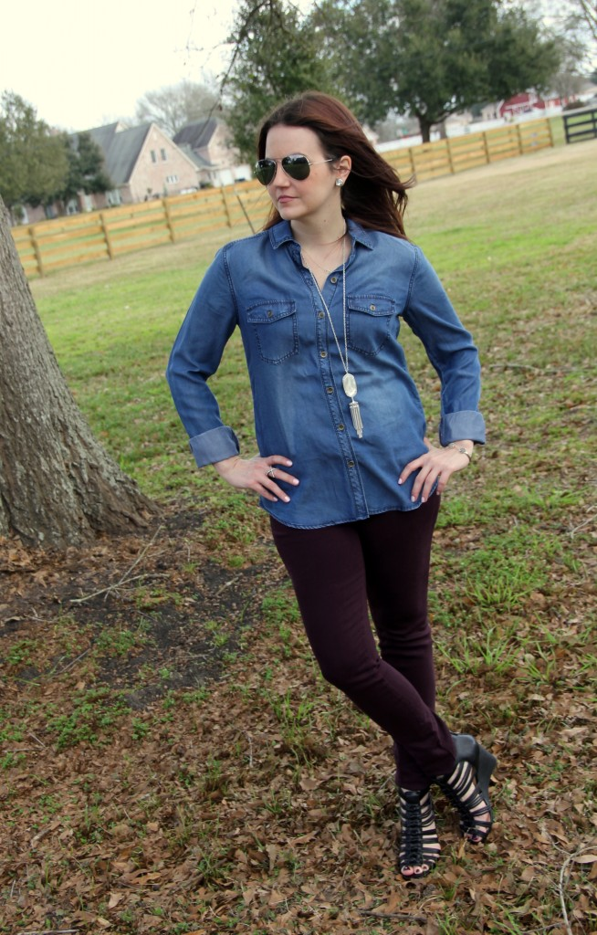 Chambray Shirt with colored skinny jeans and wedges, spring weekend outfit
