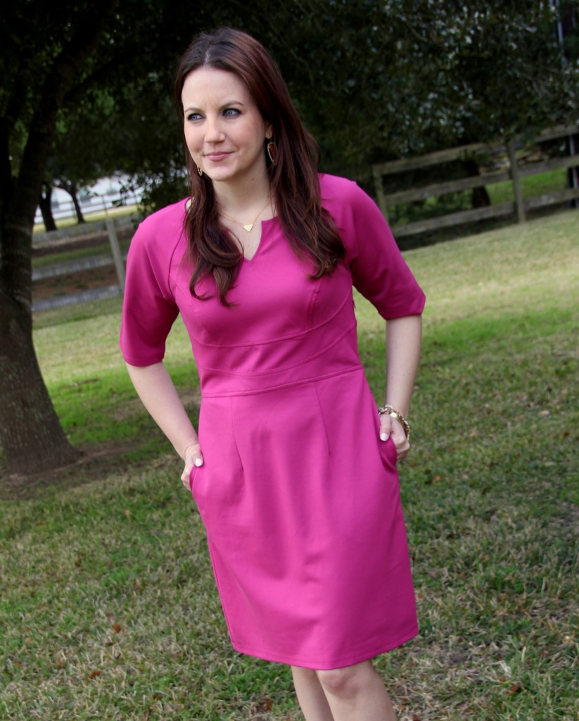 Perfect Pink dress, spring outfit idea - great for office or bridal shower guest