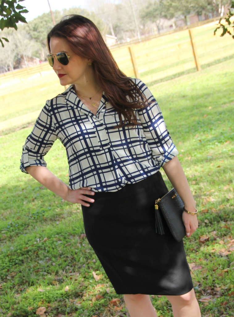 Spring Office Outfit Idea - printed blouse and pencil skirt, love it!