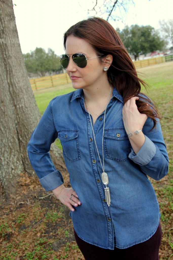 Chambray Shirt and Pendant Necklace, spring look