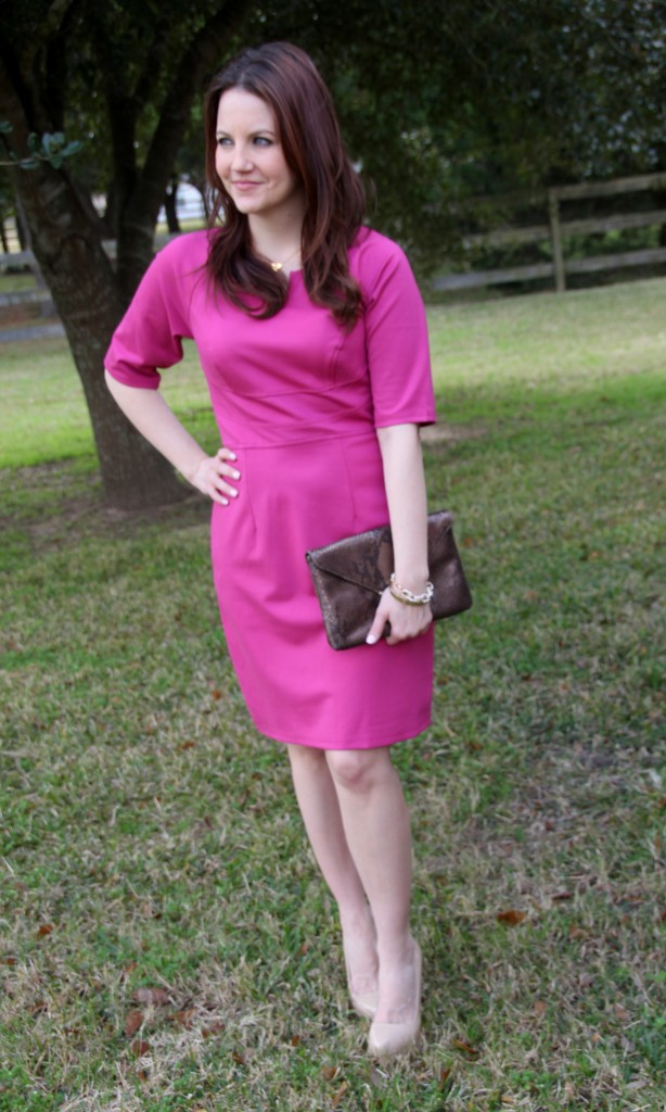 Customized pink dress to add sleeves, office outfit idea, spring look
