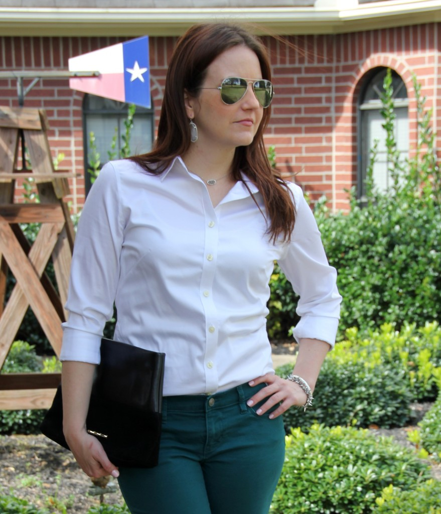 Spring Transition outfit idea - button down blouse and skinny jeans, banana republic top, loft pants, elaine turner clutch, kendra scott jewelry