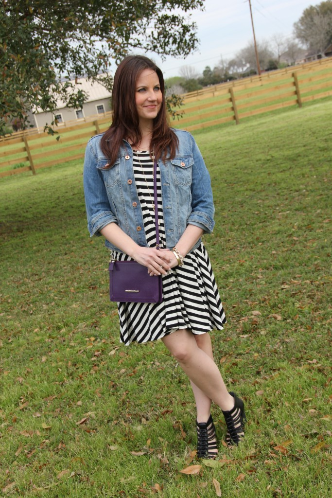 Spring Essentials - Swing Dress, Denim Jacket, Wedges and a Cross-body bag | Lady in Violet