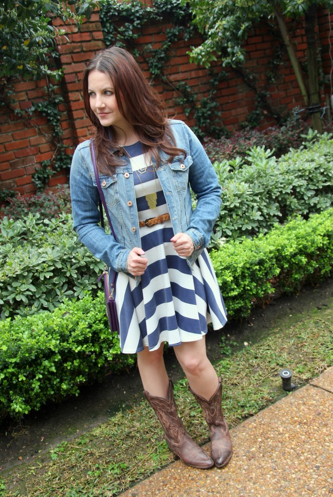 What I Wore to the Houston Rodeo - Asos striped dress, denim jacket and cowboy boots