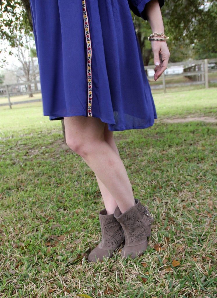Beautiful blue dress and naughty monkey booties | Lady in Violet