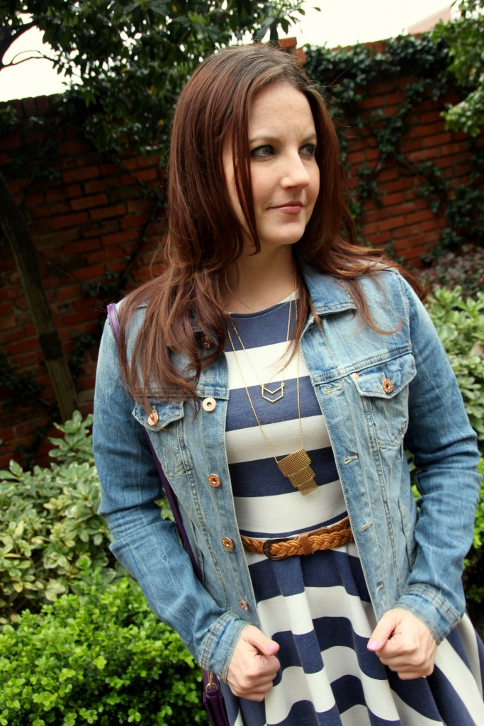 Rodeo Style - Gorjana necklaces, Jean jacket, striped dress - outfit idea