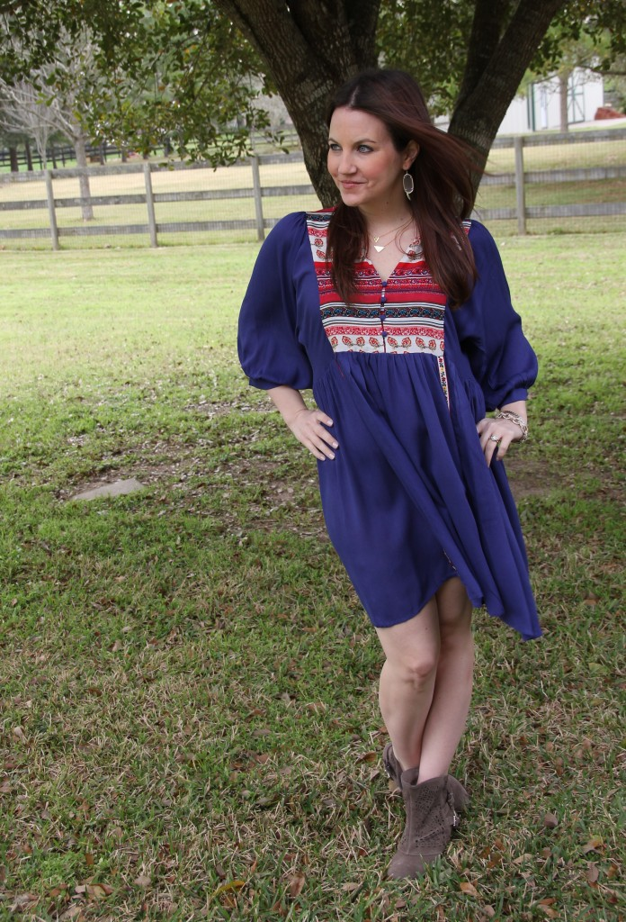 Boutique Boho Blue Dress and Booties | Lady in Violet