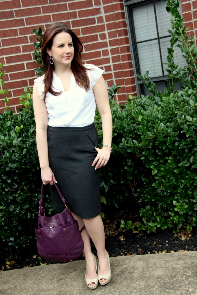 Spring Work Outfit Idea - Loft Gray Pencil Skirt and H&M White Blouse | Lady in Violet