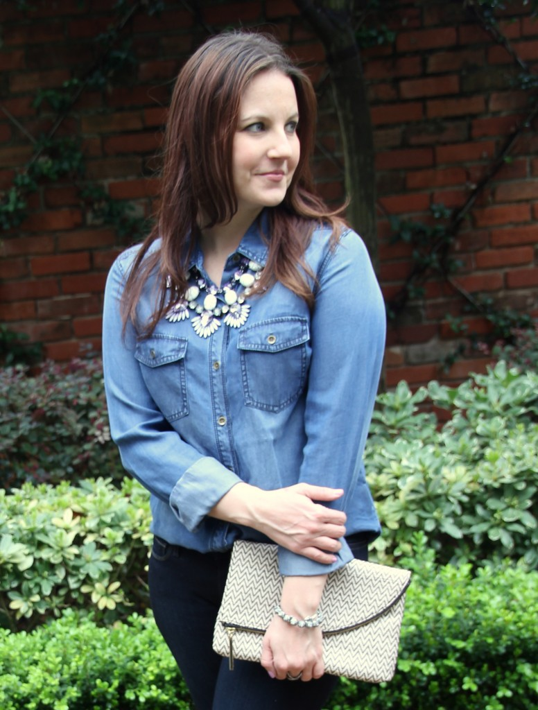 Western Wear Outfit Idea - Denim on Denim with statement necklace