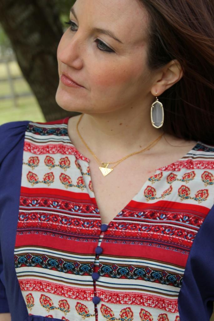 Gold Necklaces from Gorjana, Kendra Scott Elle Earrings | Lady in Violet