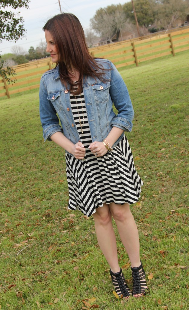 Pomp and Circumstance Dress, H&M Denim Jacket, Sole Society Wedges | Lady in Violet