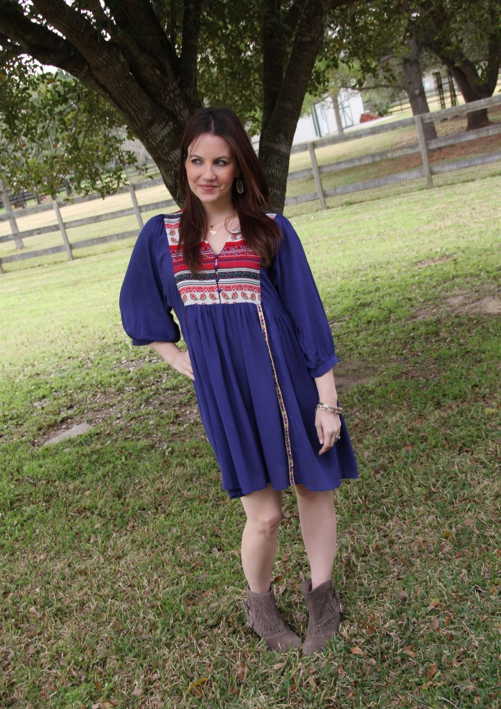 Boho Chic Outfit Idea - Free Spirit dress and booties | Lady in Violet