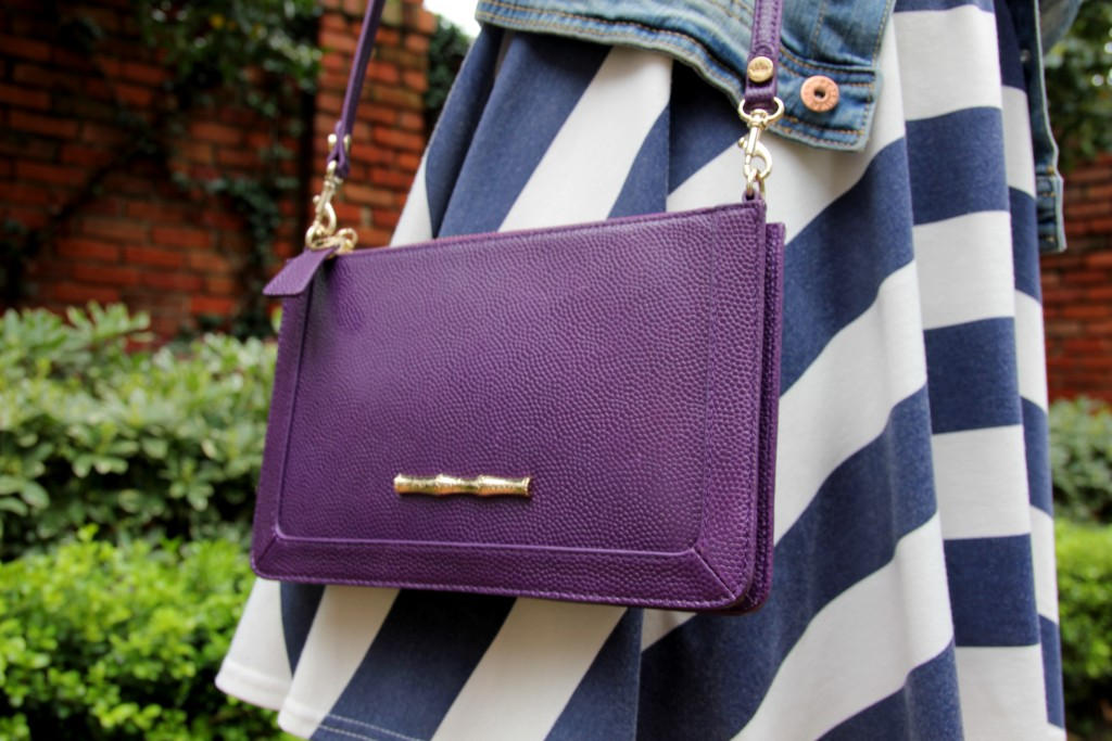 Elaine Turner Colbie Purple Leather Crossbody Bag