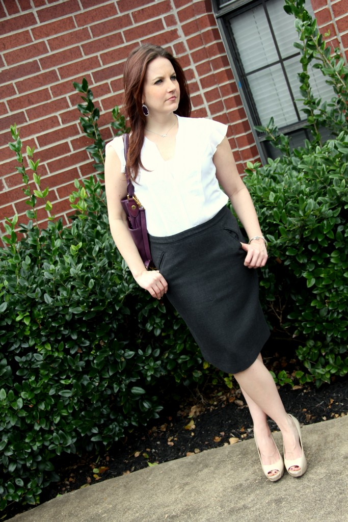 Spring Work Outfit Idea - Gray Pencil Skirt and White Blouse | Lady in Violet