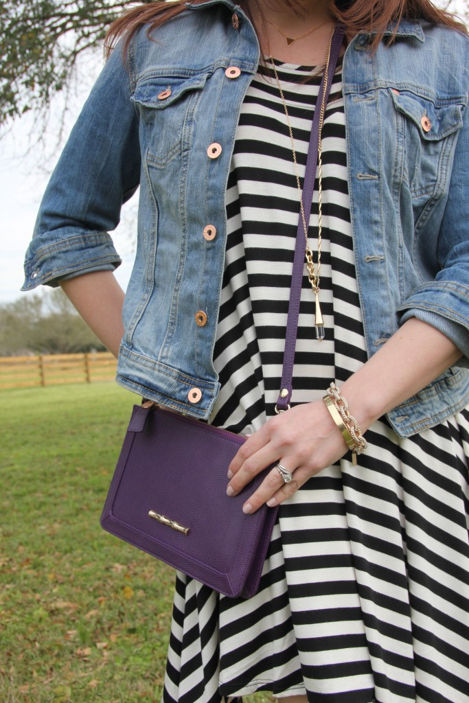 Spring Outfit Idea - Striped Dress and Denim Jacket | Lady in Violet