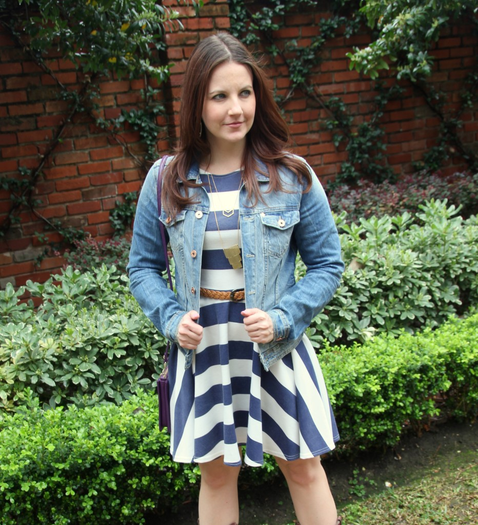 Striped Dress and H&M Denim Jacket - perfect outfit for the Houston Rodeo