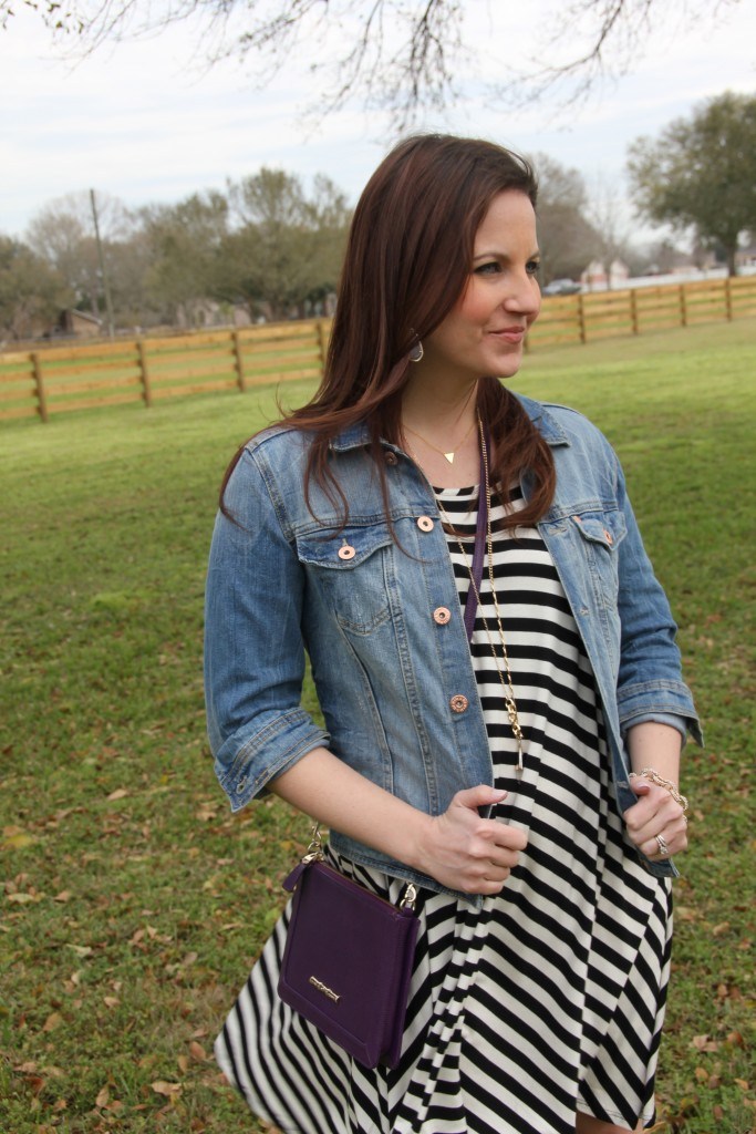 Spring Wardrobe Essentials - Striped Dress, Jacket and Crossbody Bag | Lady in Violet