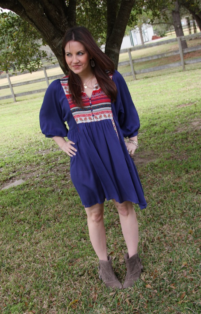 Boho Chic Style - Blue Easy Fit Dress and Booties | Lady in Violet
