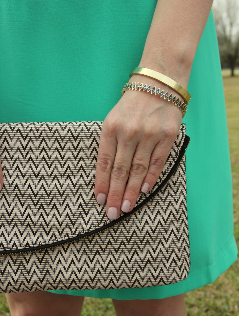 Elaine Turner Clutch with gold bangles from House of Harlow and Baublebar