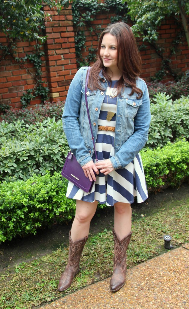 Houston Rodeo outfit - striped skater dress, jean jacket, cowboy boots - Love it!!