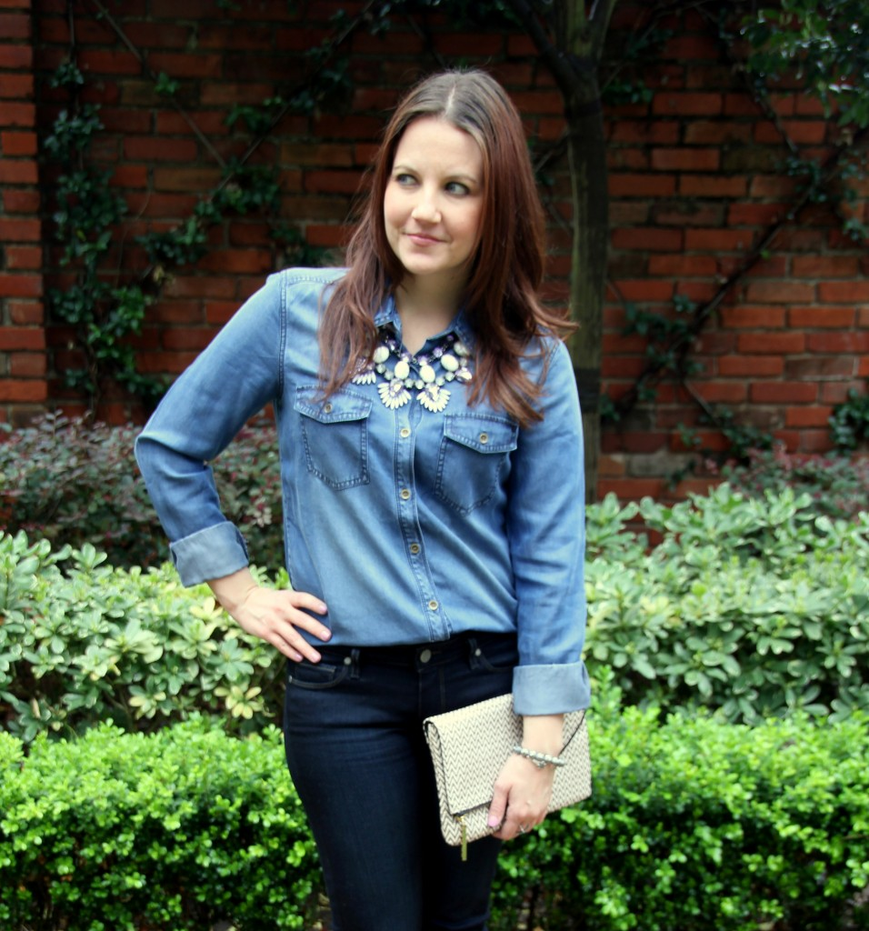 Rodeo Outfit Idea - denim on denim with statement necklace, love!!