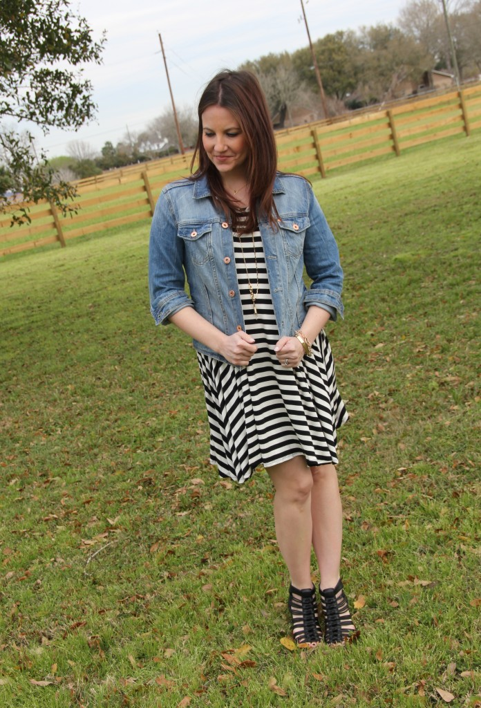 Spring Outfit Idea - striped swing dress, denim jacket and black wedges | Lady in Violet