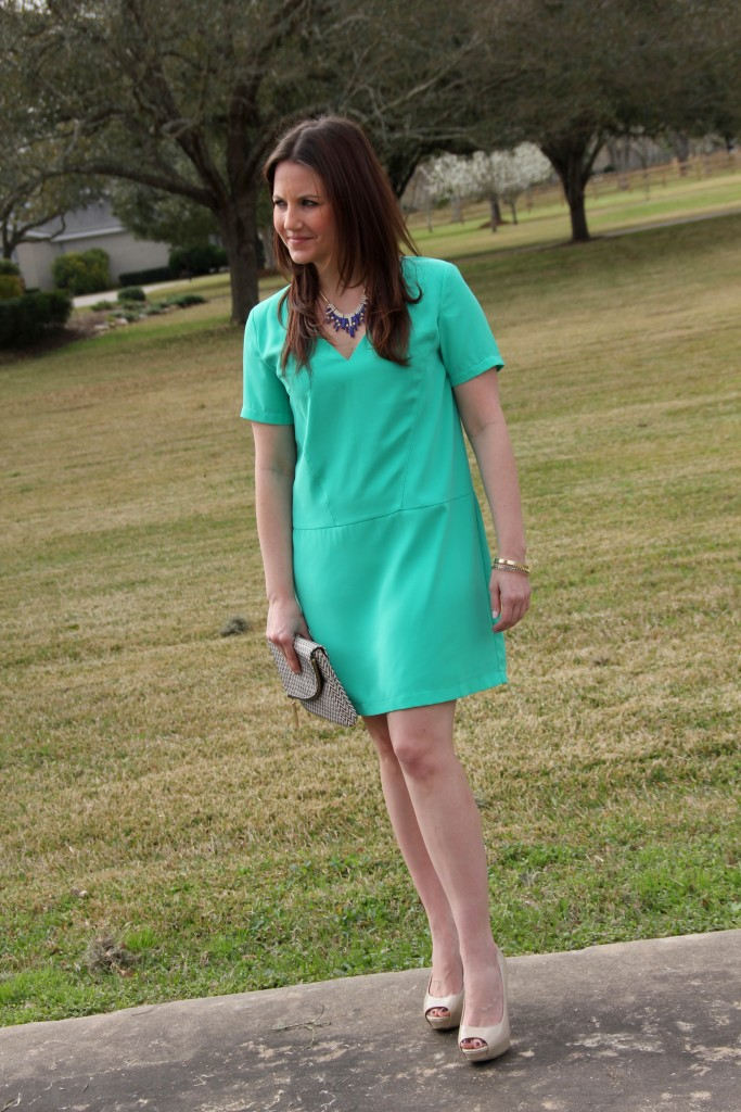 Perfect Easter outfit idea!  Love the mint dress with statement jewelry for spring look!