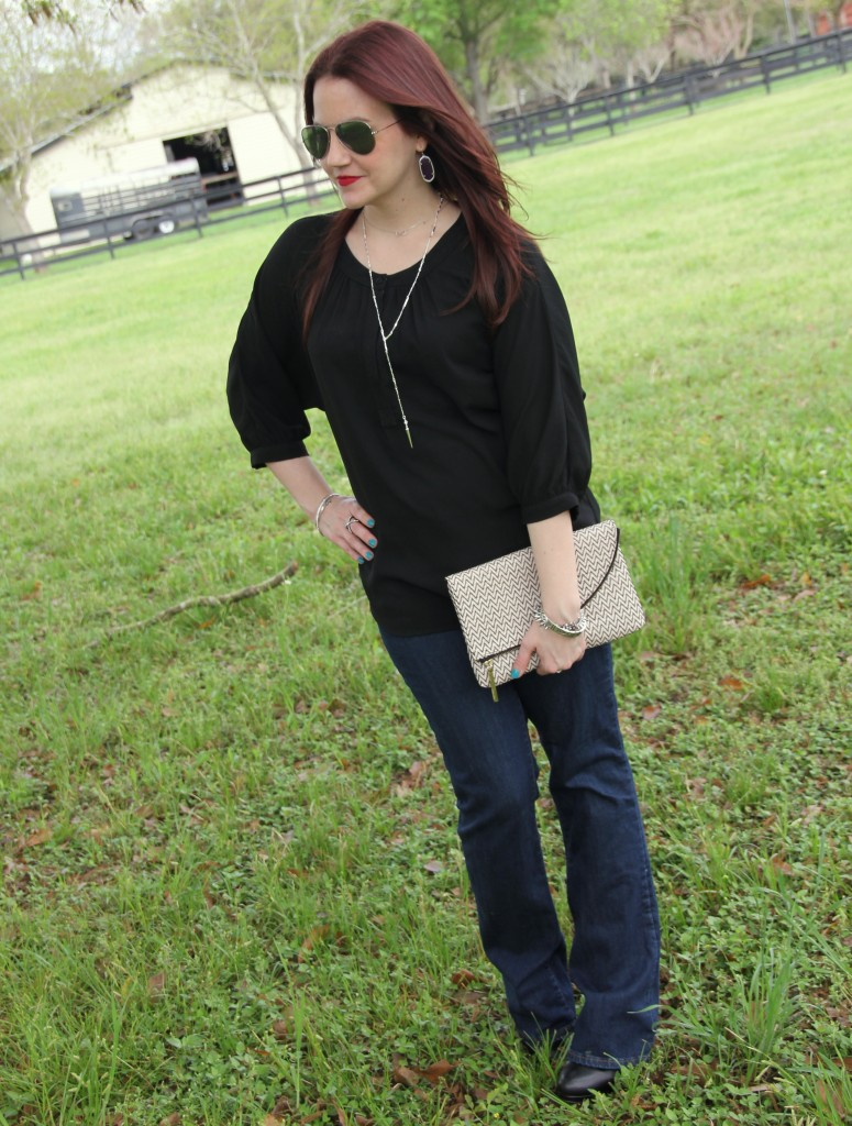 Casual outfit idea - flared jeans and black tunic with booties | Lady in Violet